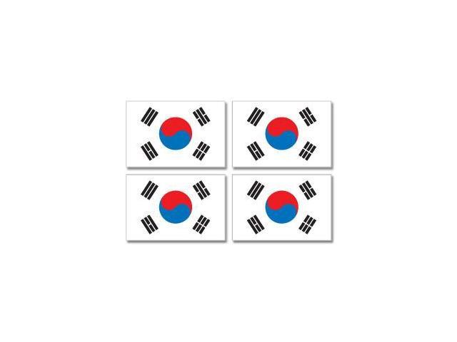 South Korea Korean Country Flag - Sheet of 4 Stickers - 3