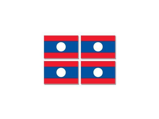 Laos Country Flag - Sheet of 4 Stickers - 3