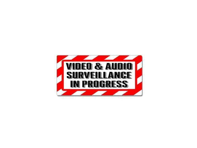 "Video & Audio Surveillance In Progress Sign - Alert Warning Sticker - 7"" (width) X 3.3"" (height)"