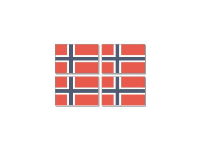 Norway Norwegian Country Flag - Sheet of 4 Stickers - 3