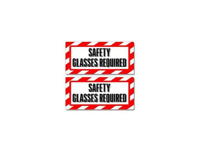 """Safety Glasses Required Sign Stickers - 5"""" (width) X 2.3"""" (height) each"""