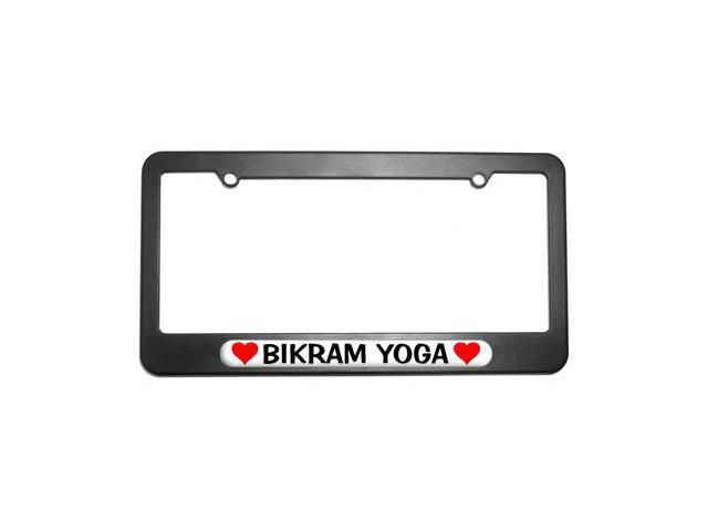 Bikram Yoga Love with Hearts License Plate Tag Frame