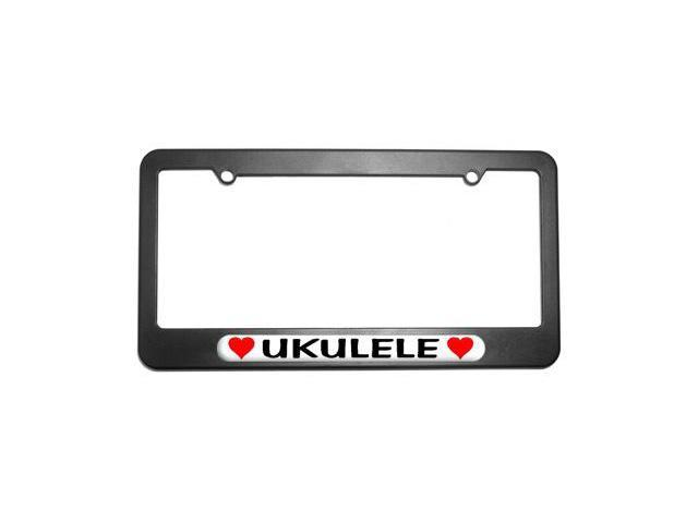Ukulele Love with Hearts License Plate Tag Frame