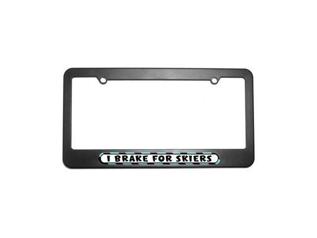 I Brake For Skiiers License Plate Tag Frame