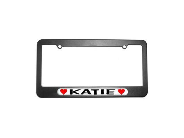 Katie Love with Hearts License Plate Tag Frame