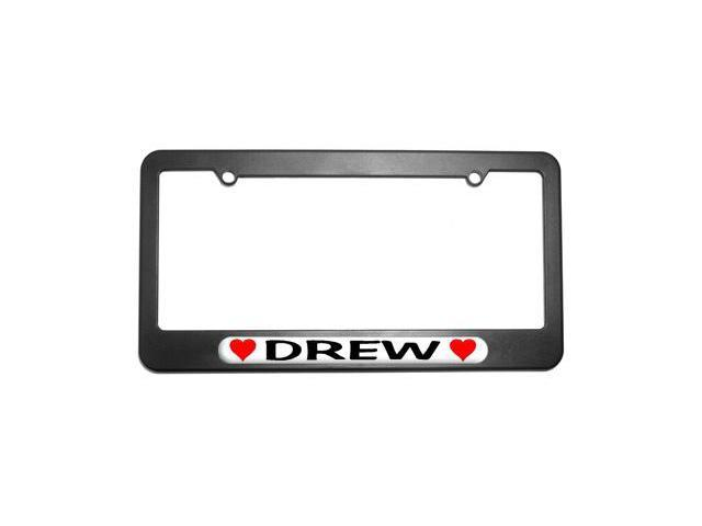 Drew Love with Hearts License Plate Tag Frame