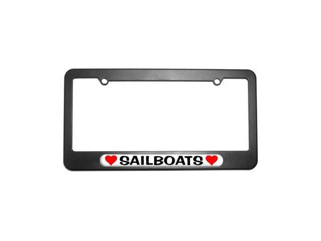 Sailboats Love with Hearts License Plate Tag Frame