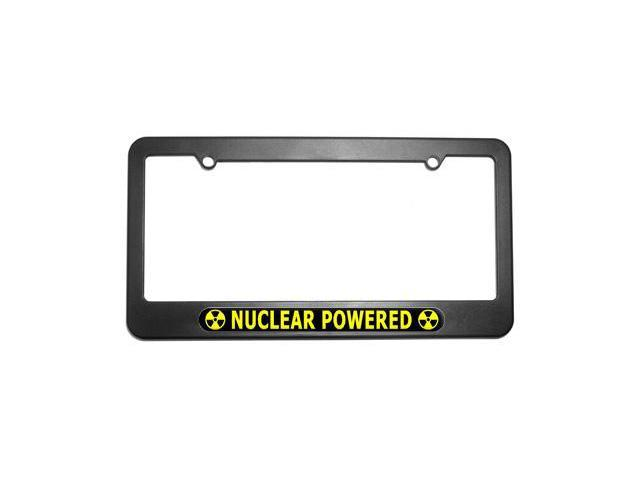 Nuclear Powered Yellow Black - Radiation Biohazar License Plate Frame