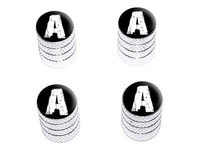 A Letter Distressed - Tire Rim Wheel Valve Stem Caps - Aluminum