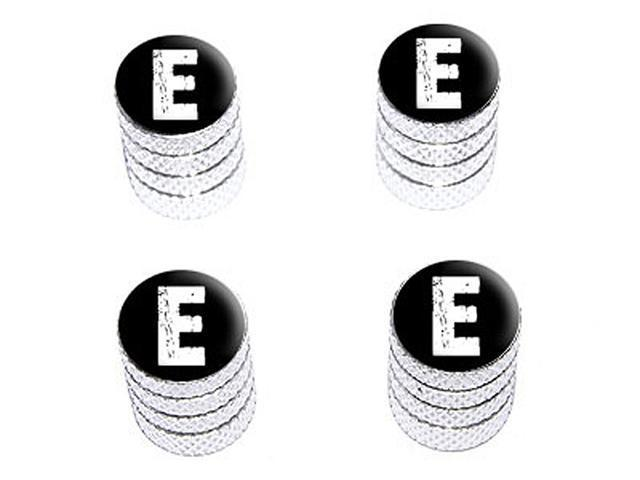 E Letter Distressed - Tire Rim Wheel Valve Stem Caps - Aluminum