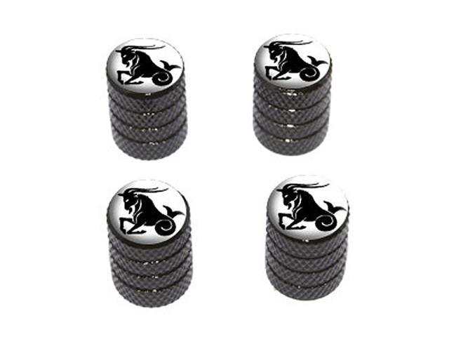 Capricorn Zodiac Horoscope - Tire Rim Wheel Valve Stem Caps - Black