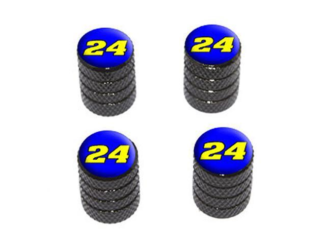 24 Number Twenty Four - Tire Rim Wheel Valve Stem Caps - Black