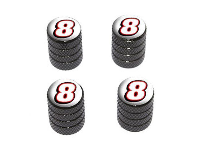 8 Number Eight - Tire Rim Wheel Valve Stem Caps - Black