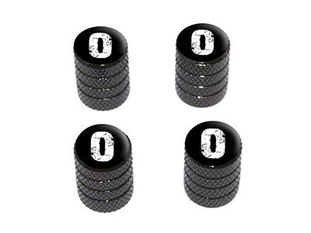 O Letter Distressed - Tire Rim Wheel Valve Stem Caps - Black