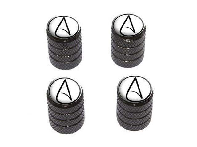 Atheism Atheist Symbol - Tire Rim Wheel Valve Stem Caps - Black
