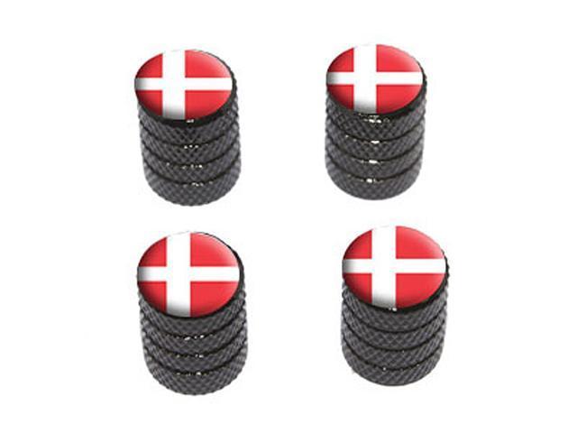 Denmark Danish Flag - Tire Rim Wheel Valve Stem Caps - Black