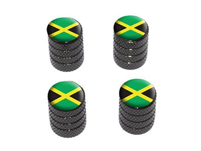 Jamaica Flag - Tire Rim Wheel Valve Stem Caps - Black