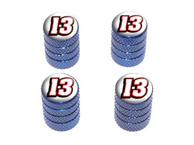 13 Number Thirteen - Tire Rim Wheel Valve Stem Caps - Blue