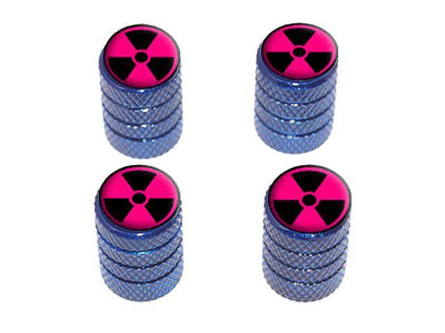 Radioactive on Pink - Tire Rim Wheel Valve Stem Caps - Blue