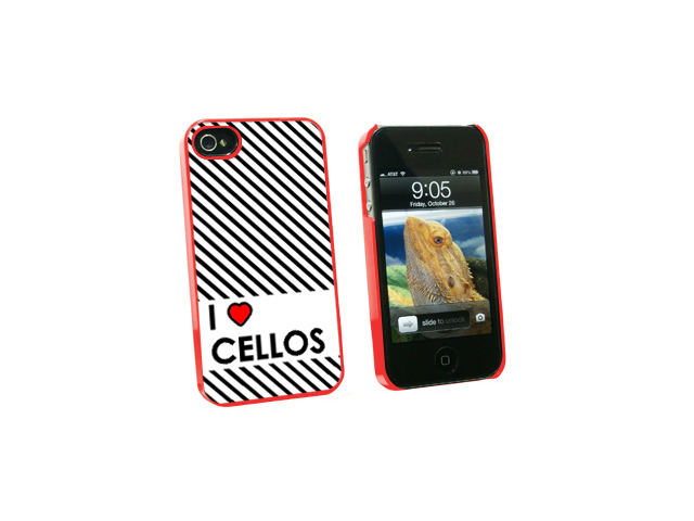 I Love Heart Cellos - Snap On Hard Protective Case for Apple iPhone 4 4S - Red