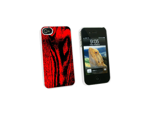Wood Grain Red - Snap On Hard Protective Case for Apple iPhone 4 4S - White
