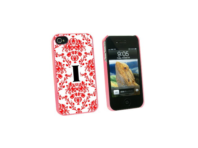 Letter I Initial Damask Elegant Red Black White - Snap On Hard Protective Case for Apple iPhone 4 4S - Pink