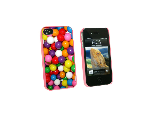 Gumballs Candy - Snap On Hard Protective Case for Apple iPhone 4 4S - Pink
