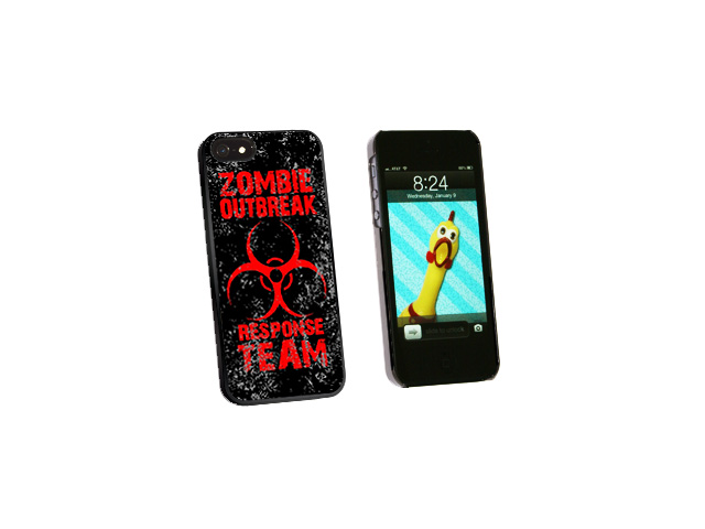 Zombie Outbreak Response Team Red Distressed - Snap On Hard Protective Case for Apple iPhone 5 - Black