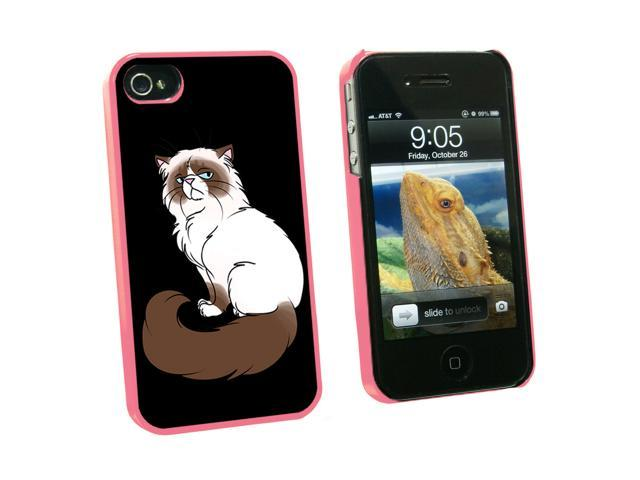 Persian Cat Himalayan Color Points on Black - Pet - Snap On Hard Protective Case for Apple iPhone 4 4S - Pink