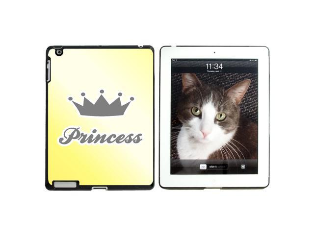 Princess Crown Yellow Damask - Spoiled - Snap On Hard Protective Case for Apple iPad 2 3 4 - Black - OEM