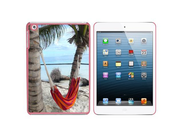 Tropical Beach Hammock - Palm Trees Ocean Snap On Hard Protective Case for Apple iPad Mini - Pink