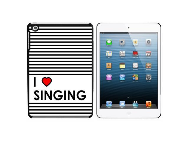 I Love Heart Singing Snap On Hard Protective Case for Apple iPad Mini - Black - OEM