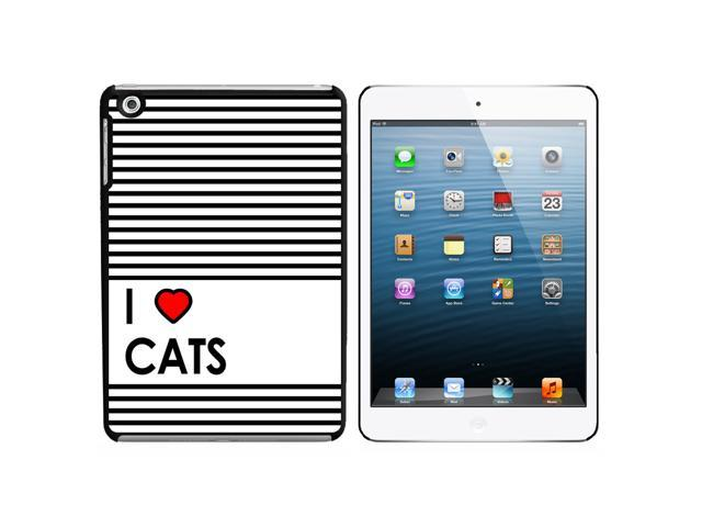 I Love Heart Cats Snap On Hard Protective Case for Apple iPad Mini - Black