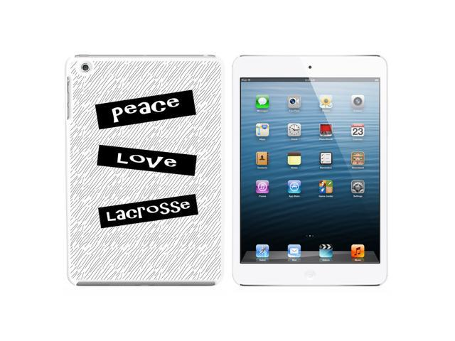 Peace Love Lacrosse Snap On Hard Protective Case for Apple iPad Mini - White - OEM