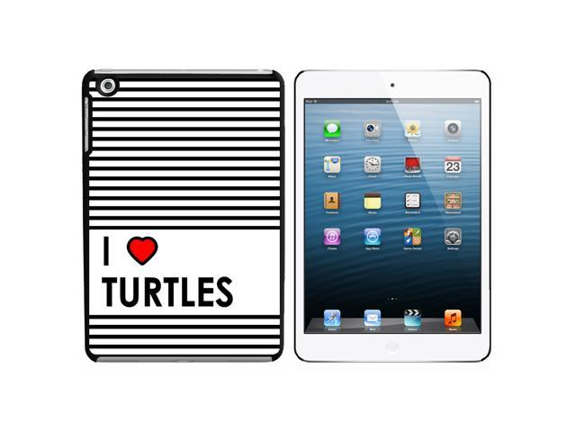 I Love Heart Turtles Snap On Hard Protective Case for Apple iPad Mini - Black - OEM