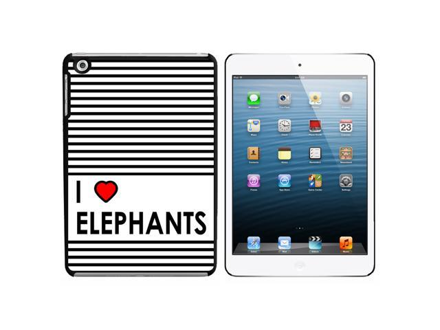 I Love Heart Elephants Snap On Hard Protective Case for Apple iPad Mini - Black