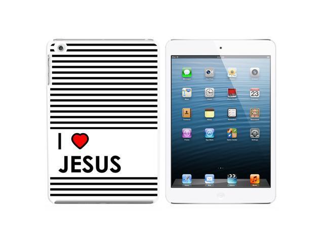 I Love Heart Jesus - Christian Religious Snap On Hard Protective Case for Apple iPad Mini - White - OEM