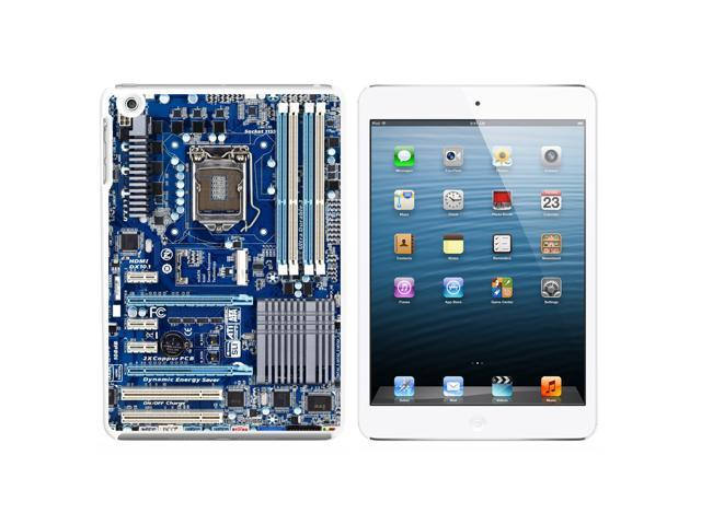 Blue Computer Motherboard - Processor CPU Memory Snap On Hard Protective Case for Apple iPad Mini - White - OEM
