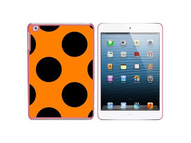 Mega Polka Dots Black Orange Snap On Hard Protective Case for Apple iPad Mini - Pink