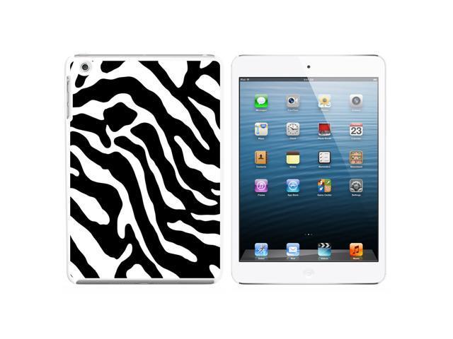 Zebra Print Black White Snap On Hard Protective Case for Apple iPad Mini - White