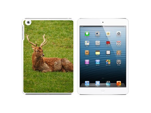 Male Deer On Grass Snap On Hard Protective Case for Apple iPad Mini - White - OEM