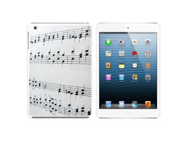 Music Musical Notes - Score Composition Snap On Hard Protective Case for Apple iPad Mini - White - OEM