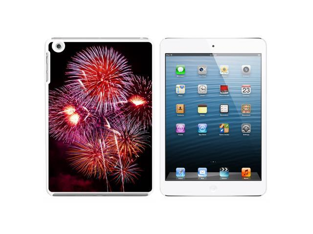 Multiple Fireworks at Night Snap On Hard Protective Case for Apple iPad Mini - White