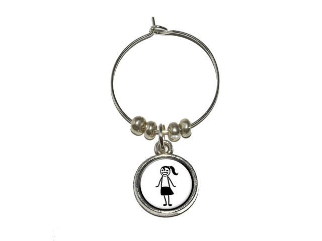 Teen Daughter Stick Figure Family - Girl Wine Glass Charm Drink Stem Marker Ring - OEM