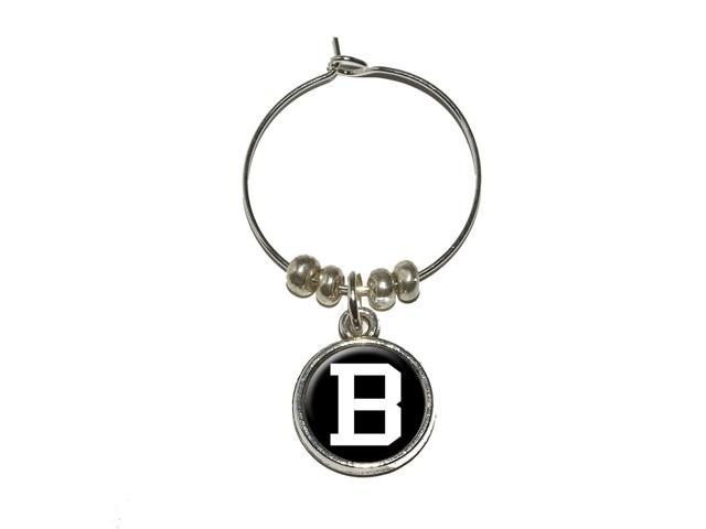 Letter B Initial Black White Wine Glass Charm Drink Stem Marker Ring - OEM