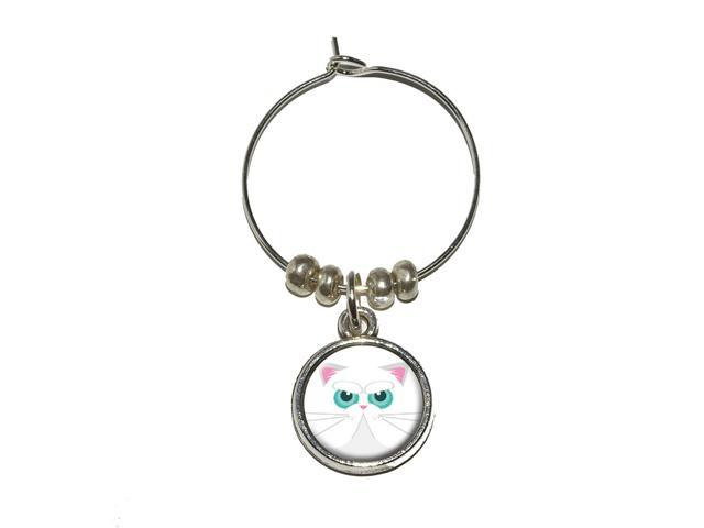 Persian Cat Face Wine Glass Charm Drink Stem Marker Ring - OEM