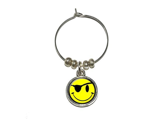 Smile Smiley Pirate Face Wine Glass Charm Drink Stem Marker Ring