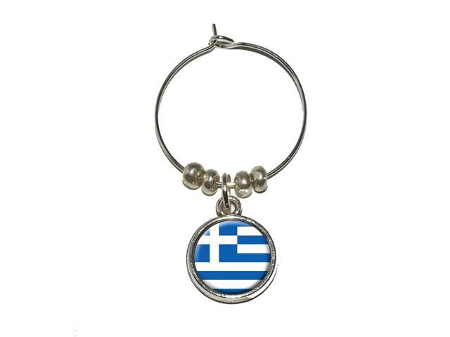 Greece Greek Flag Wine Glass Charm Drink Stem Marker Ring