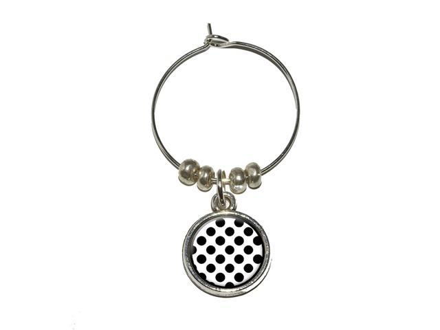 Polka Dots Black White Wine Glass Charm Drink Stem Marker Ring