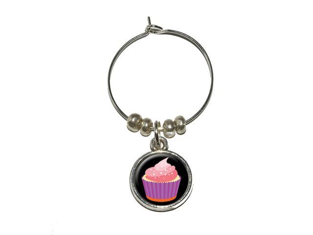 Cupcake Wine Glass Charm Drink Stem Marker Ring